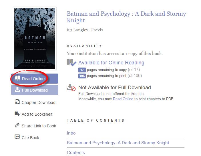Screenshot of Read Online button on an e-book record