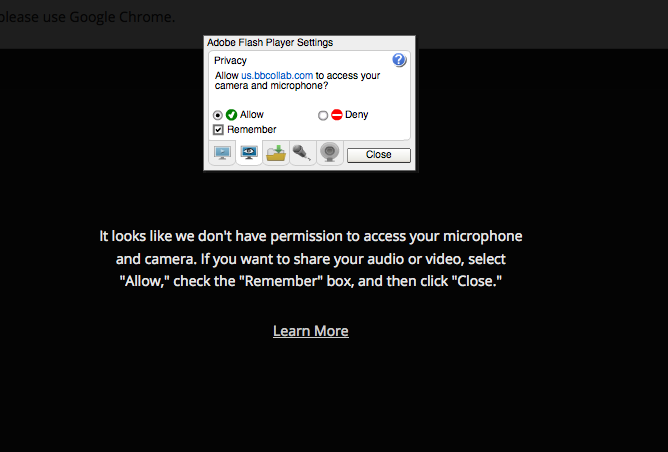 "Pop-up Window titled ""Adobe Flash Player Settings"". Please follow the prompts on the screen, then select ""Allow"", check the box next to ""Remember"", and click Close (at bottom)."