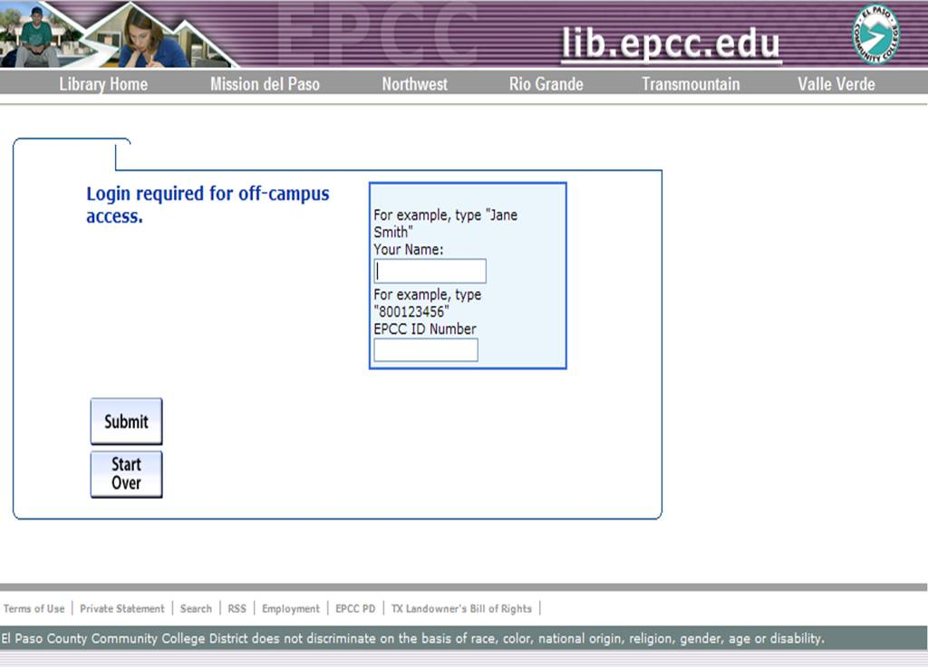 EPCC off-campus access screen