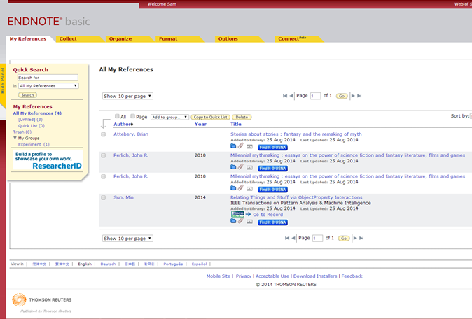 Screenshot of EndNote Web's 'All my references' screen.