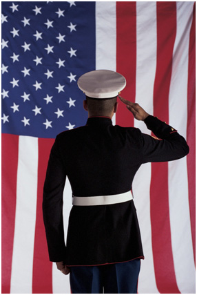 Image of Marine and American Flag