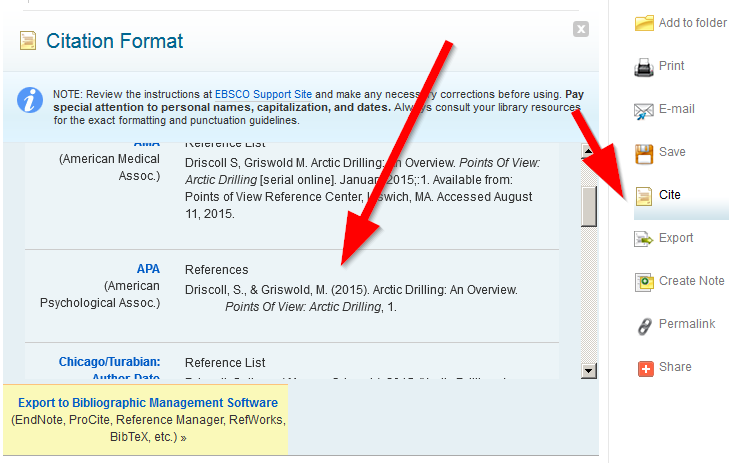 """Screenshot of the """"Cite"""" link and resulting list of citations in Points of View Reference Center"""