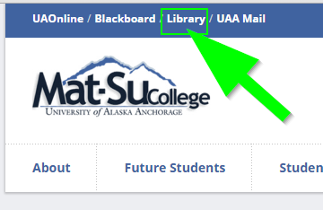 Screenshot of college homepage with Library link highlighted