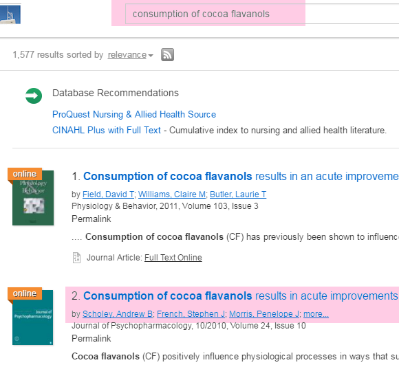 Screenshot of QuickSearch search results showing Scholey article