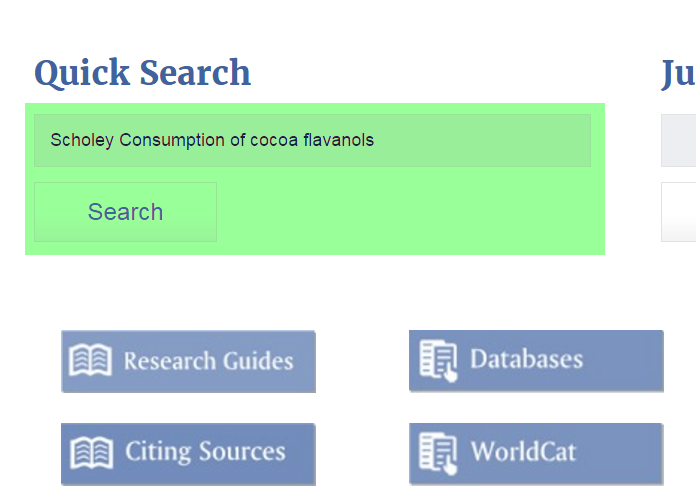 "Screenshot of ""Scholey Consumption of Cocoa Flavanols"" typed into QuickSearch search box"