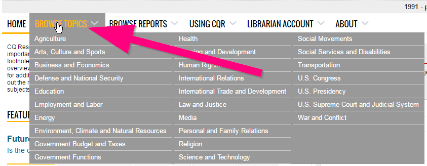 Screenshot of the Browse Topics button in CQ Researcher