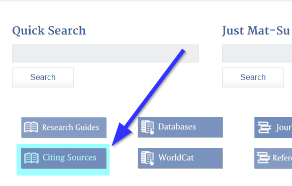 Screenshot with 'Citing Sources' button highlighted and pointed to