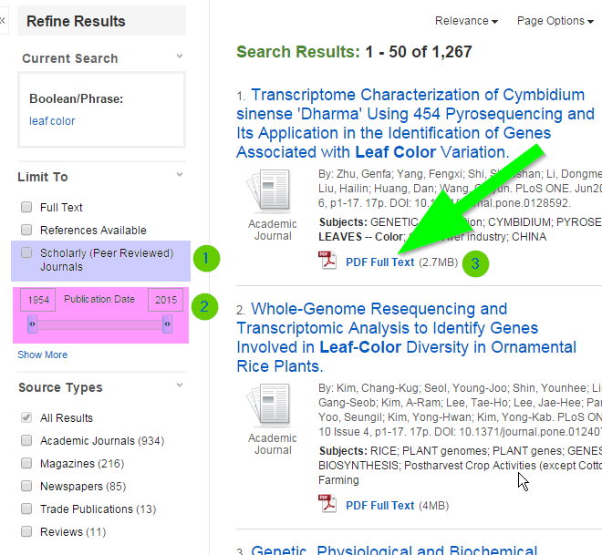 Screenshot of academic search premier results page