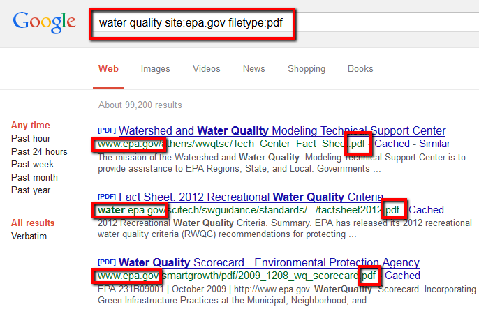 Screenshot of google showing use of the filetype and site searching features