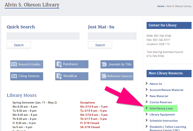 Screenshot showing location of Interlibrary Loan link on college webiste