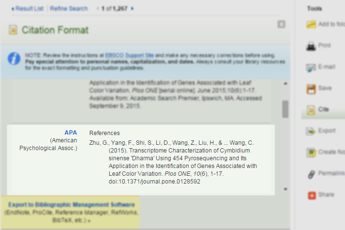 Screenshot showing APA style citation obtained from clicking cite button in Academic Search Premier