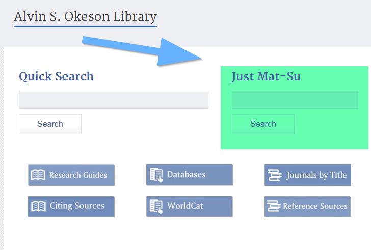 Screenshot of Just Mat-Su search box on library homepage