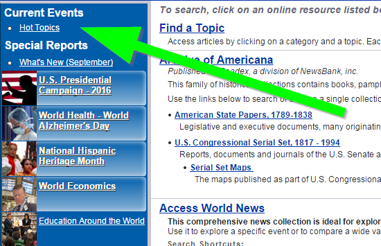 Screenshot showing location of Hot Topics link in Newsbank