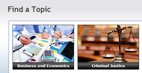 Screenshot showing Find a Topics category page