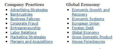 Screenshot showing subcategories of businses category in Newsbank's Find a Topic tool