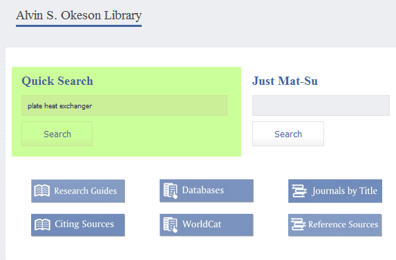 Screenshot of QuickSearch searchbox on library website