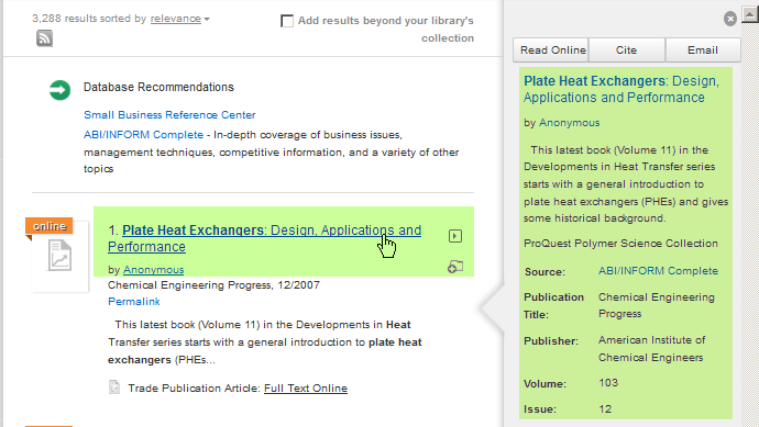 Screenshot of mousing-over a QuickSearch search result in order to display preview