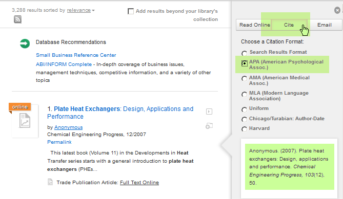 Screenshot of using the Cite button in an article's preview pane