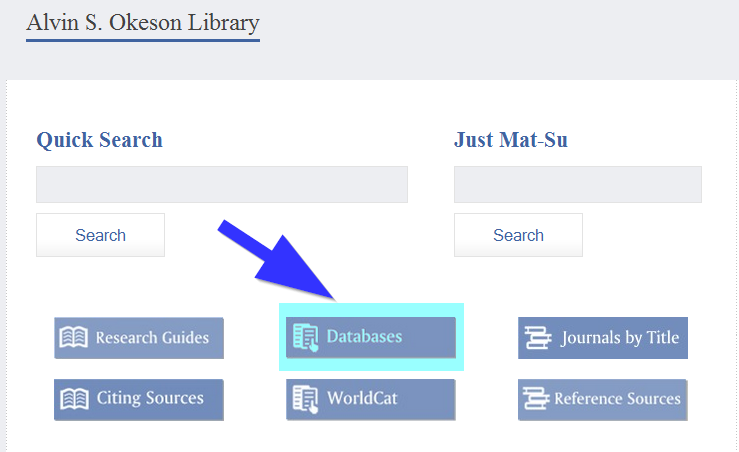 "Screenshot of ""Databases"" link on library website"
