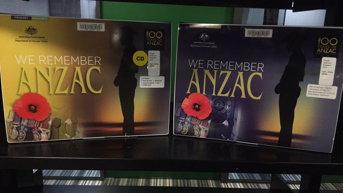 """We remember the ANZAC"" kit resource on library shelf."