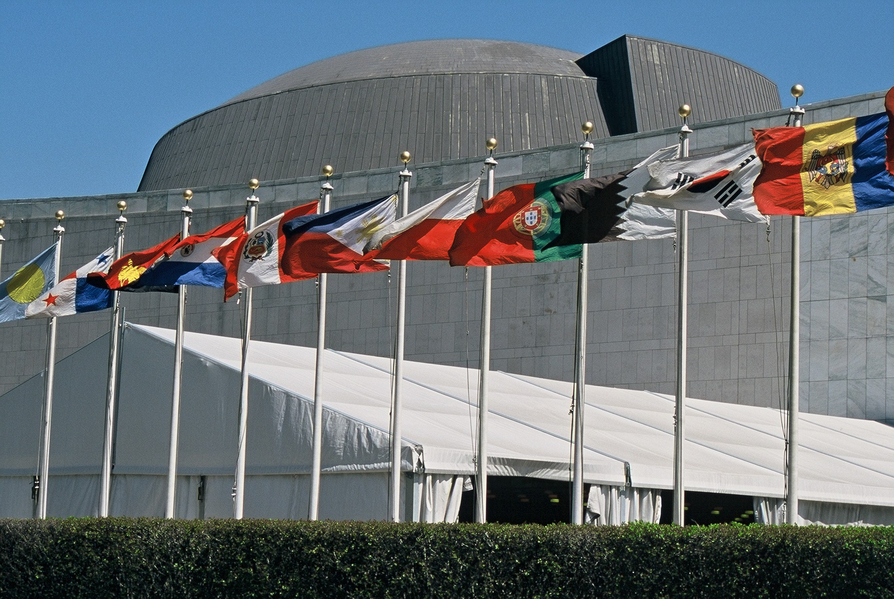 Flags of various countries of the world at the Headquarters of the UNited Nations in New York City