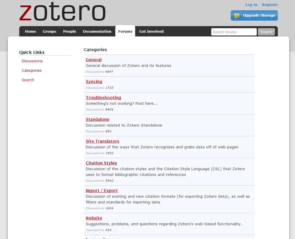 Image of the Zotero forums in Zotero online