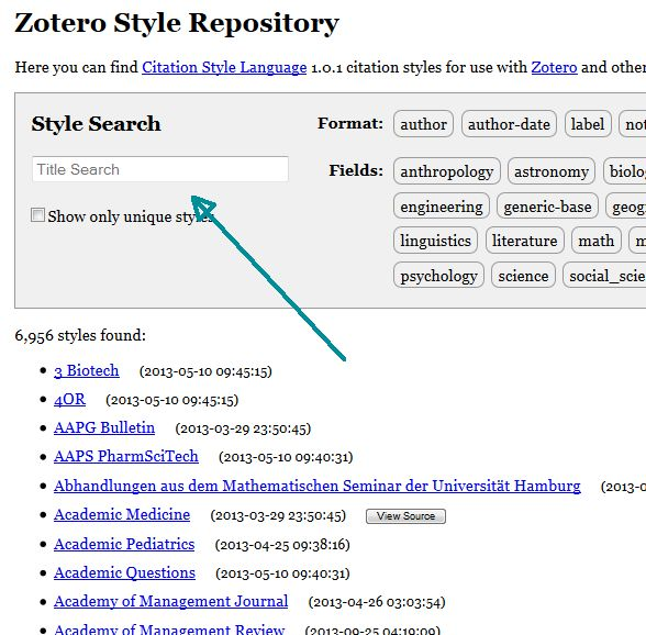 Image of Zotero Style Repository