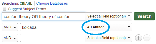 Author search in CINAHL