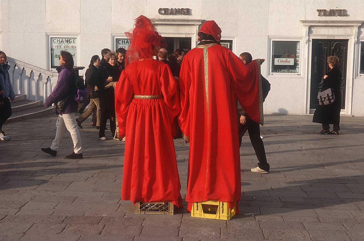 Two costumed street performers.