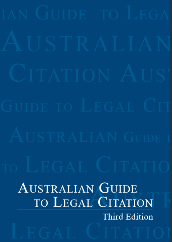 Image showing the cover of the AGLC book. Also contains a link to the PDF file.