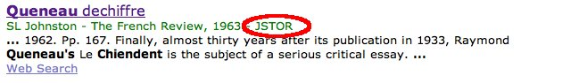 Screenshot of Google Scholar search result from JSTOR