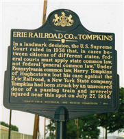 photo of Erie v. Tompkins commemorative sign
