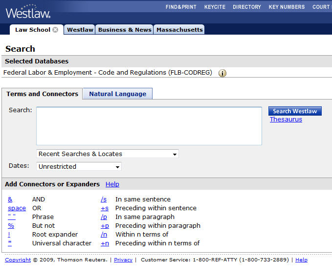 Westlaw screenshot showing Federal Labor & Employment - Code and Regulations database