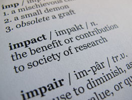 Dictionary definition of impact as 'the benefit or contribution to society of research'