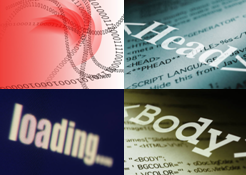 collage of images for Web Design - head and body tags, loading message