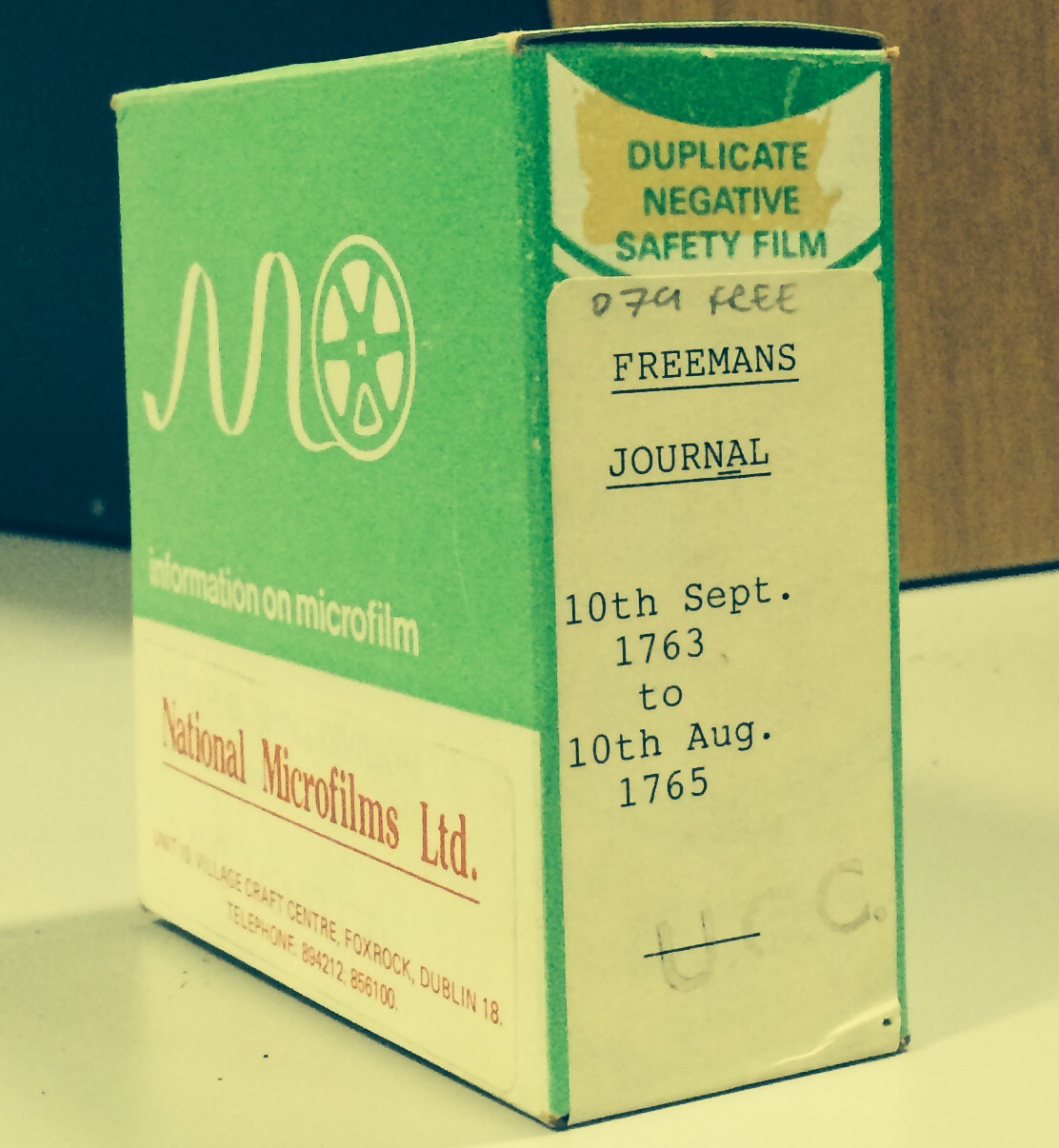 Example of microfilm box
