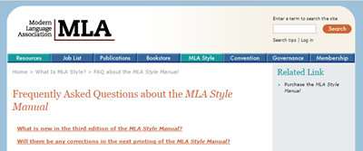 MLA FAQs screenshot