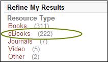 Screenshot showing ebooks facet