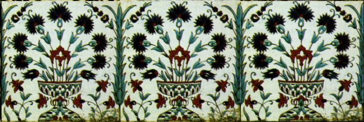 Sixteenth century Turkish tiles with carnation and tulip designs.