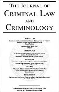 cover of the journal of criminal law and criminology
