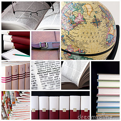 Collage of images including globe and books