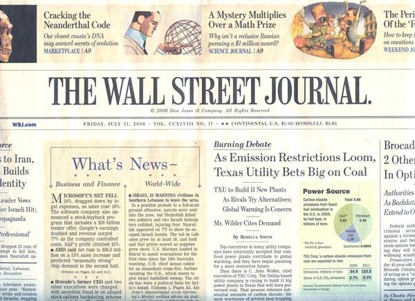 cover of the wall street journal