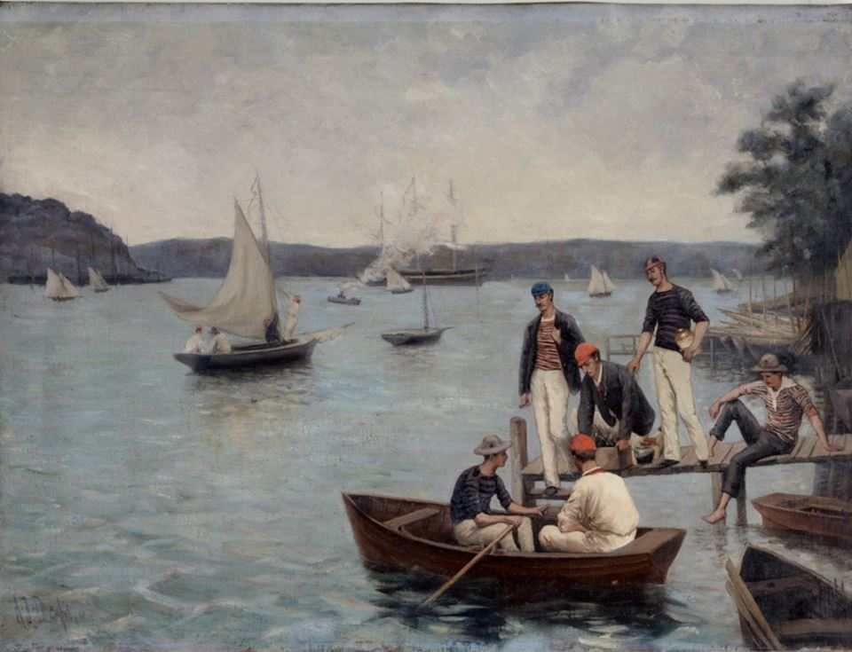 Boating scene in Sydney Harbour painted by Alfred James Daplyn