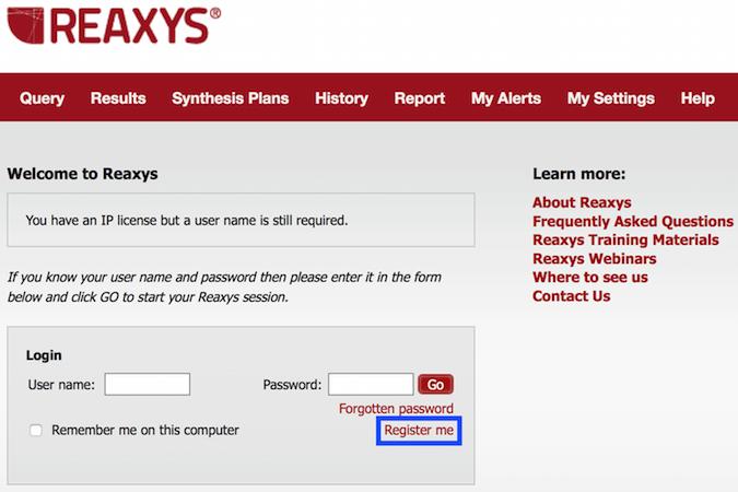 Reaxys Registration