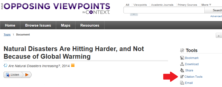 image of Opposing Viewpoints database
