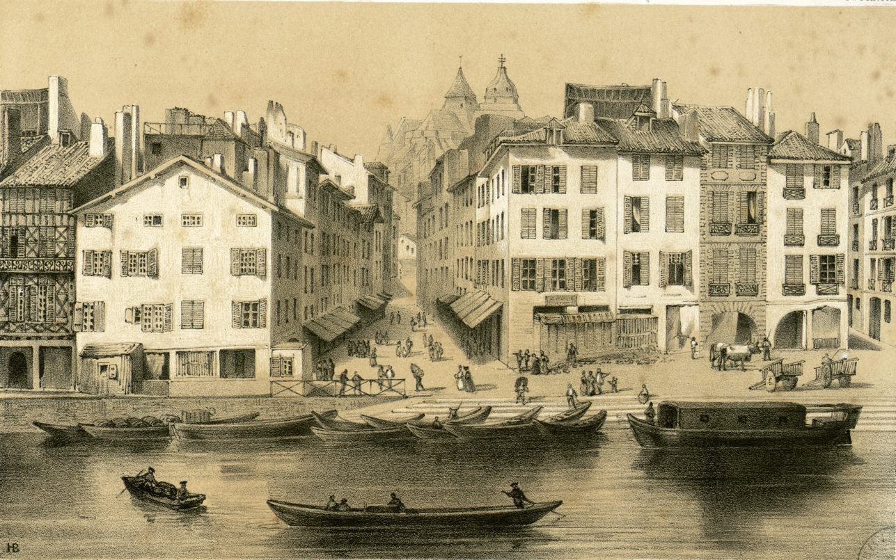 A drawing of a city with multistory buildings. People work in the streets. A river with boats runs by the city.