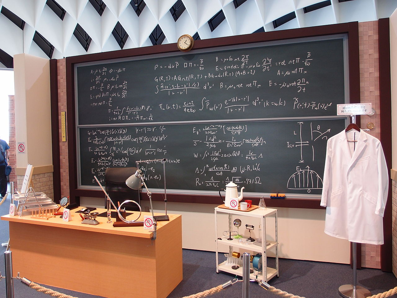 Classroom setup with blackboard with math formulas written on it, teacher's desk, and hanging lab coat