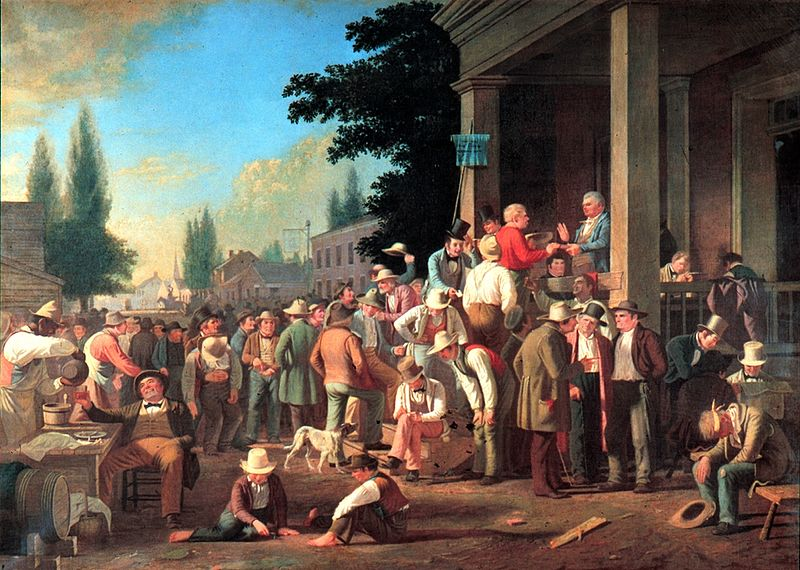 A painting of a 19th century scene in which men standing around talking in the street in a American small town