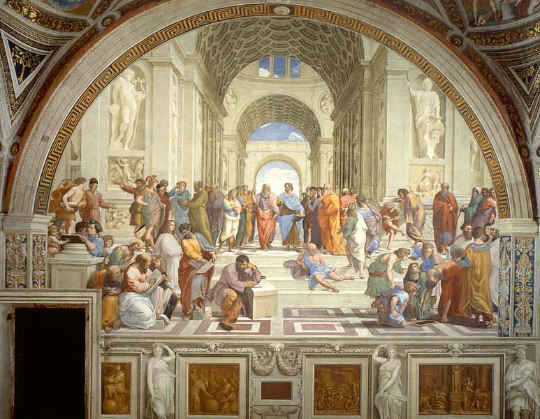 A painting showing a greek building with multiple arches. People in Greek clothing discuss books.