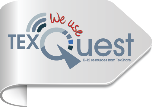"""We Use TexQuest"" icon pointing right"